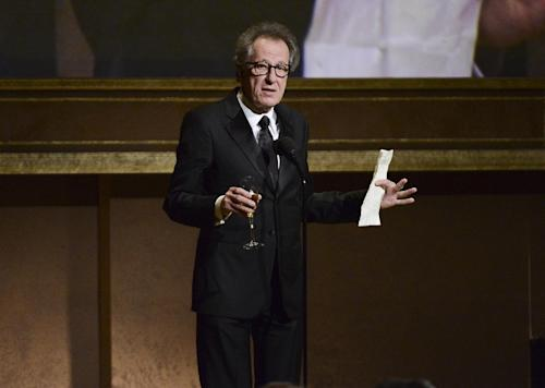 Actor Geoffrey Rush speaks at the 2013 Governors Awards on Saturday, Nov. 16, 2013 in Los Angeles. (Photo by Dan Steinberg/Invision/AP)