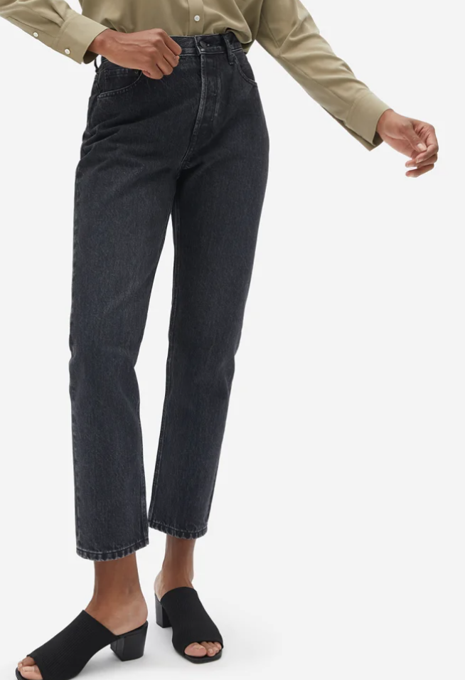 Everlane 90s Cheeky Straight Jean in Washed Black