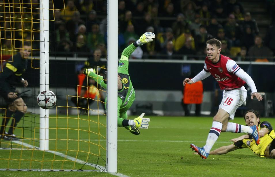 Arsenal's Ramsey scores against Borussia Dortmund during Champions League soccer match in Dortmund