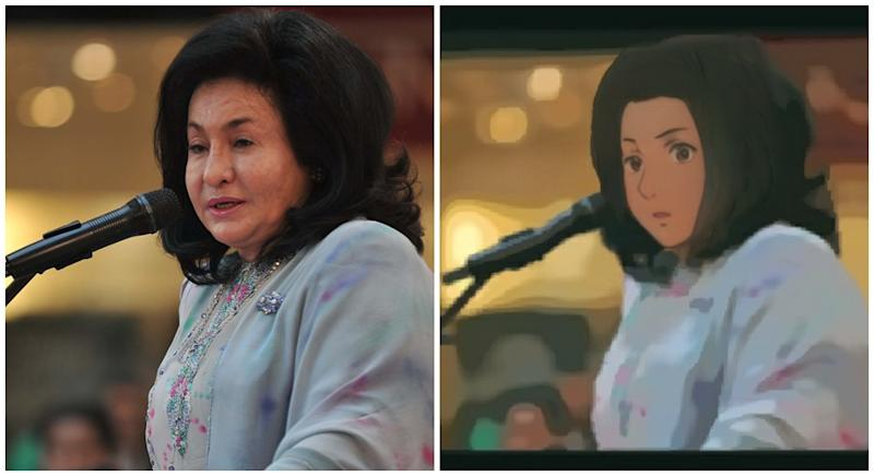Rosmah Mansor and Anime Rosmah. Original photo from the Coconuts KL archives