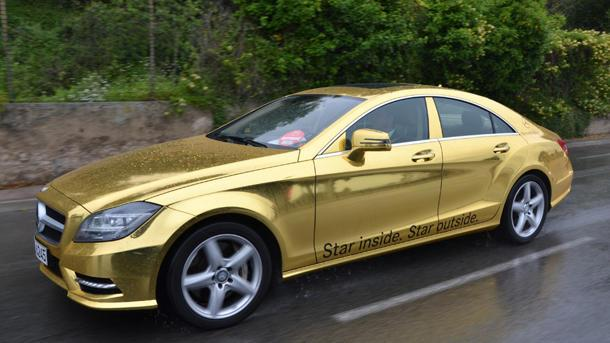 Mercedes gold wraps fleet of cars for Cannes film festival, silencing haters forever