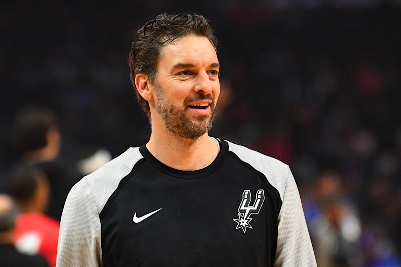 LOS ANGELES, CA - DECEMBER 29: San Antonio Spurs Center Pau Gasol (16) looks on before a NBA game between the San Antonio Spurs and the Los Angeles Clippers on December 29, 2018 at STAPLES Center in Los Angeles, CA. (Photo by Brian Rothmuller/Icon Sportswire via Getty Images)