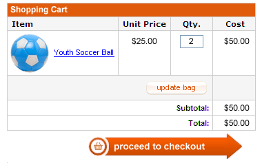 A screenshot of an online shopping cart