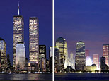 New York City's downtown skyline on March 3, 2000 (left) and October 12, 2001 (right) (AP)