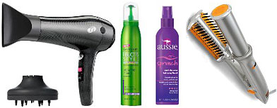 T3 hair dryer, Garnier Fructis Volume Inject Mousse, Aussie Catch the Wave Sprunch Hair Spray, and the InStyler. (Yahoo! Shopping)