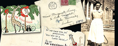 Photo of Margaret Davey and postcard and letter for Margaret Davey (Family of Margaret Davey)