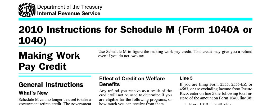 Irs tax form 1040 schedule m 2010 making work pay and for 1040 instructions tax table 2010
