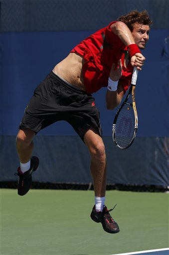 Ernests Gulbis Of Latvia Serves