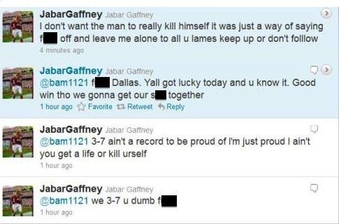 Jabar Gaffney tells Cowboys fan on Twitter to kill himself