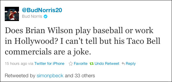 Bud Norris has a beef with Brian Wilson's Taco Bell commercial