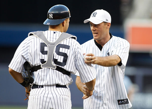 Kevin Harvick tosses out the first pitch at Yankees game