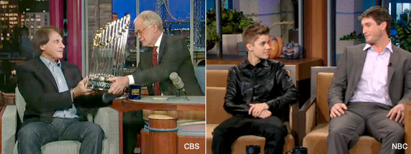 Biebs and Dave: Cardinals champs hit late-night talk show circuit