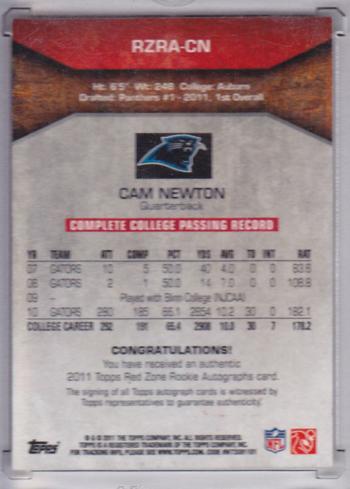 A step ahead of the NCAA? Trading card says Newton never played for Auburn