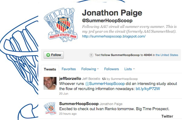 Summer Hoops Scoop fake Twitter account featuring fake reporter Jonathon Paige