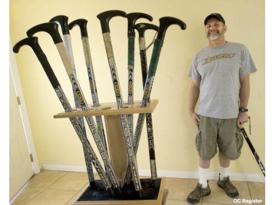 This guy turns broken hockey sticks into walking canes