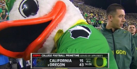 Oregon's mascot had a 'Chip' on his shoulder against Cal – literally