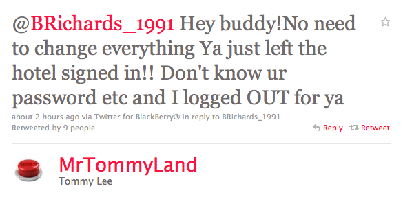 Motley Crue's Tommy Lee saves Brad Richards from Twitter hack