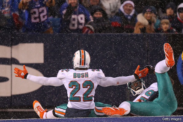Reggie Bush and the Dolphins won Sunday for Tony Sparano