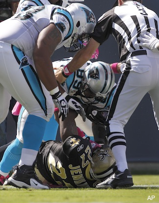 Cam Newton TD pass to Steve Smith leads to end zone skirmish