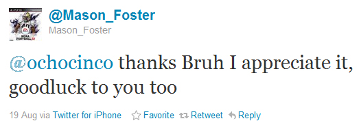 Chad Ochocinco promises to reimburse Mason Foster's (potential) fine after hard hit