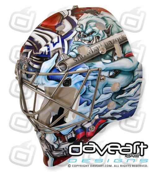 Semyon Varlamov's mask: Carrot bazookas vs. angry Yeti