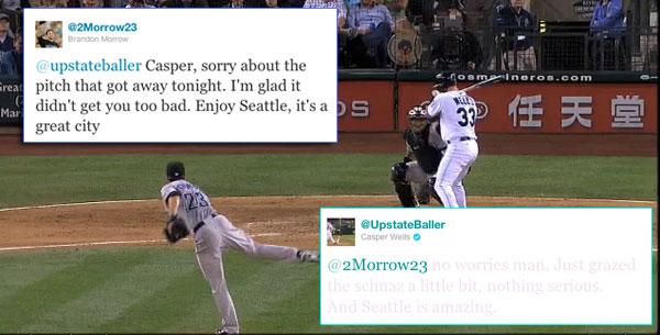 After scary hit-by-pitch, Morrow and Wells work it out on Twitter