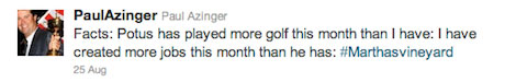 Azinger gets dinged for anti-Obama tweet, and it's your fault
