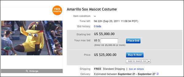 Remember that inappropriate mascot? It's up for bid on eBay
