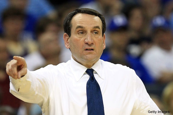 Duke basketball coach Mike Krzyzewski