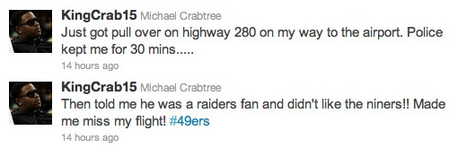 Crabtree missed a flight because of a Raiders fan policeman