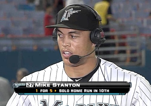 Danger! Marlins' Stanton bombarded by teammates celebrating win