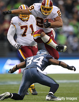 Video: Roy Helu goes vertical for first NFL touchdown run