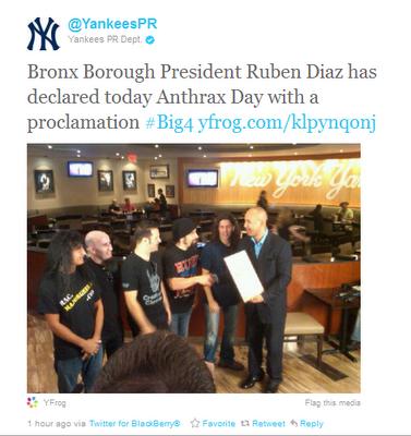 True story: Yankee Stadium will host 'Anthrax Day' in the Bronx