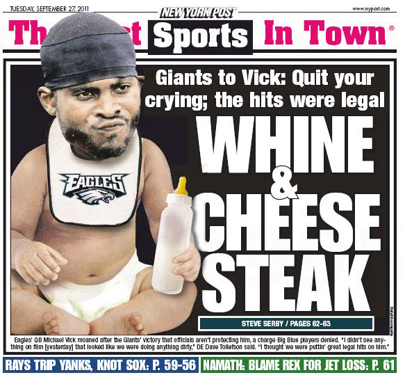 New York Post cover depicts Michael Vick as a baby