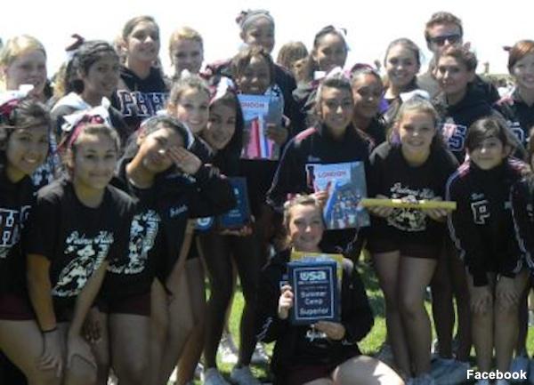 Piedmont Hills cheerleaders in summer training