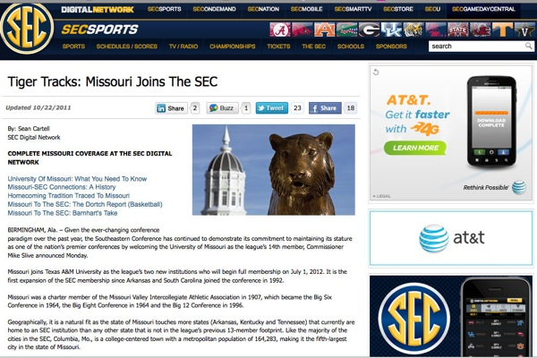 Missouri briefly joined the SEC Thursday night, according to the SEC's website
