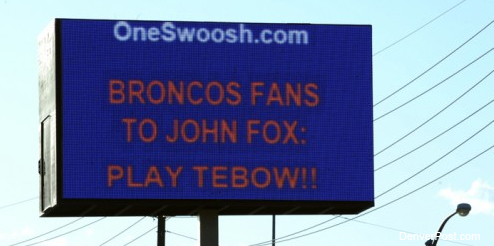 The first pro-Tebow billboard goes up in Denver