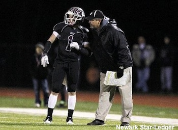 Wayne Hills football coach Chris Olsen and wide receiver Andrew Monaghan