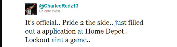 Delonte West is seeking out a hardware store job to outlast the lockout