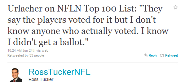 So, who DID vote on the NFL Network's Top 100 list?