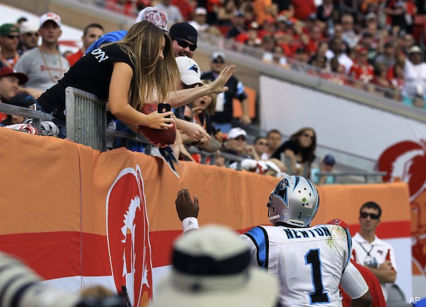 Cam Newton gives 16-year-old fan a football, team asks for it back