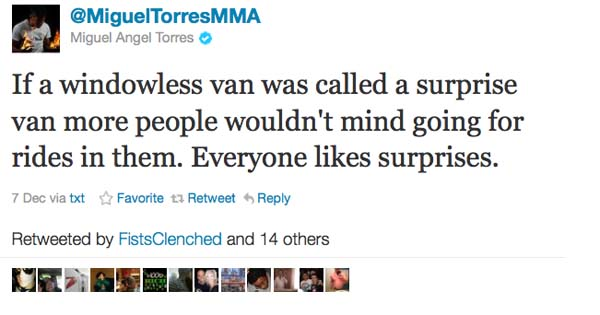 Former WEC champ Miguel Torres cut from UFC for rape tweet