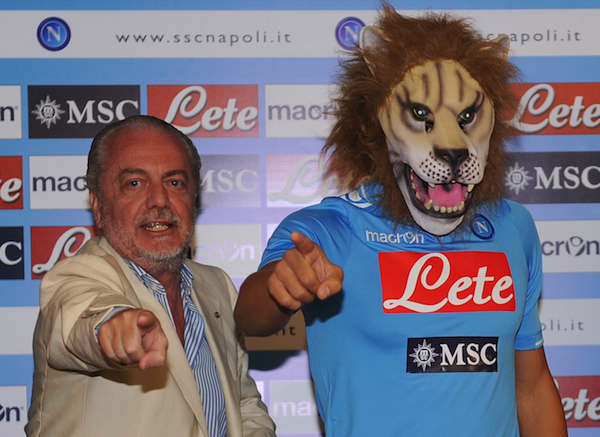 Napoli unveil Gokhan Inler (in a lion mask)