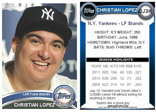 Lopez is Topps: Fan who gave ball to Jeter gets own baseball card