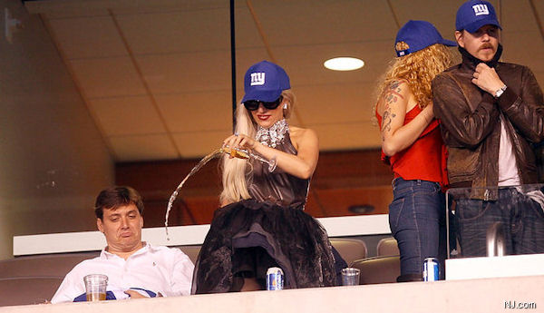 Lady Gaga poured champagne into a handicapped seating area