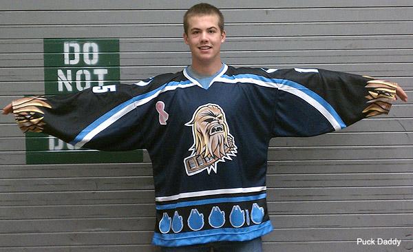 Wookiee sensation: The Star Wars Night Chewbacca hockey jersey