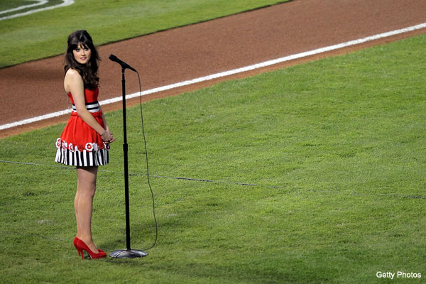 Photo: Zooey Deschanel sings the national anthem