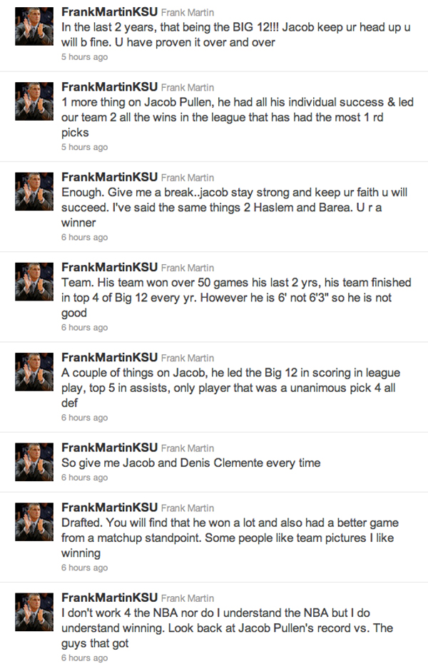 Frank Martin tweets in protest of Jacob Pullen's draft night snub