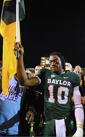 Robert Griffin carries the banner across the finish line as Baylor's best ever