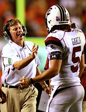 Video: Steve Spurrier creates a diversion while his beleaguered quarterback slips off the roster
